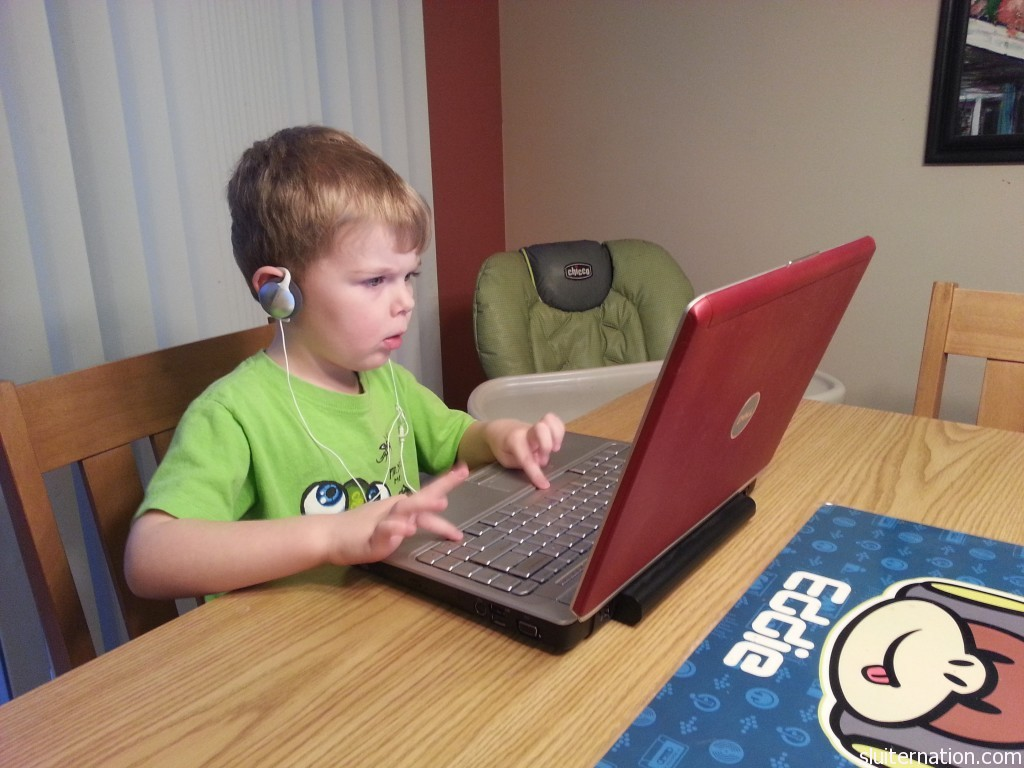"January 2: And old laptop becomes the ""game computer"" and Eddie gets his ""mommy face"" on."