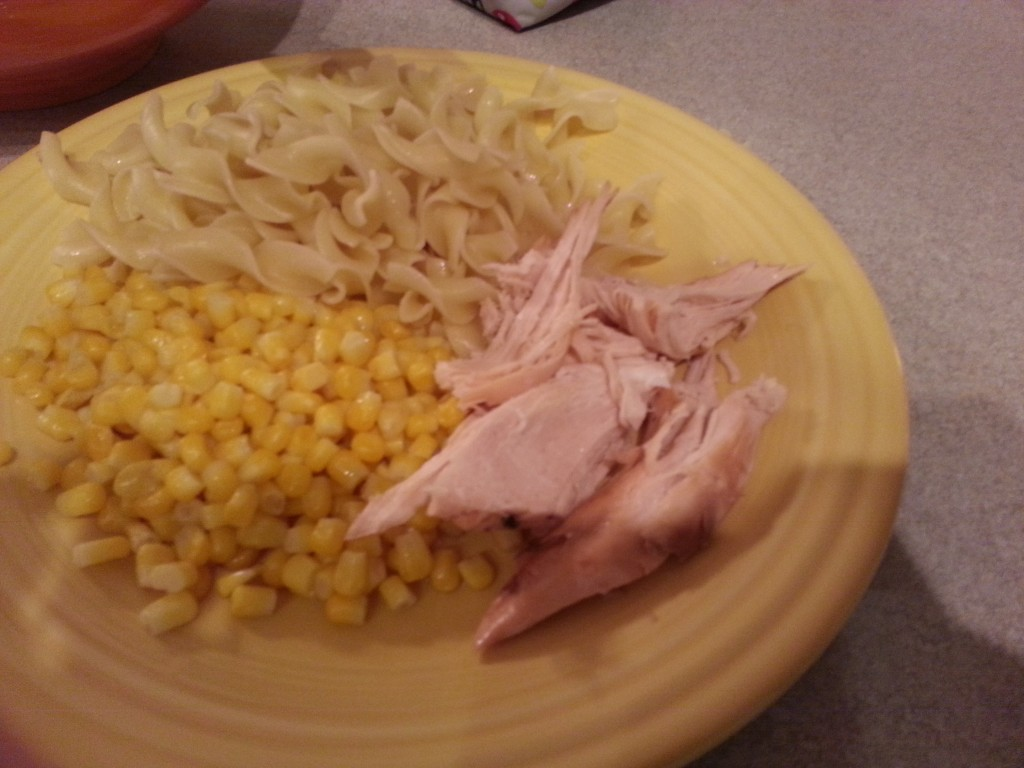 I served it with noodles and corn because it's what was in the house, but really you could do anything with it!