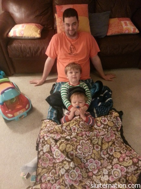 February 3: All the boys in the house in a cuddle pile.