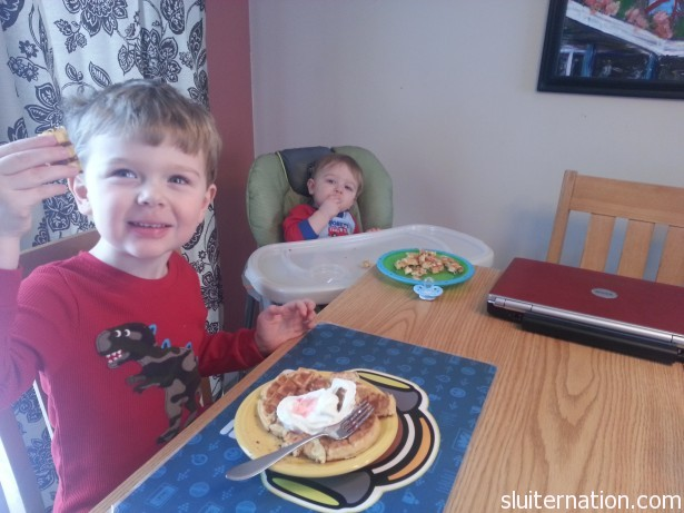 February 23: Mommy makes waffles for the boys.  Toaster waffles. But look at the happiness!