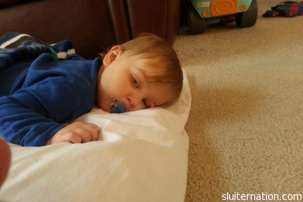 March 11: So tired.  Hope the little guy feels better for his birthday!