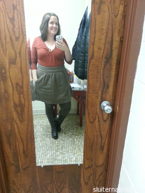 Another fave: skirt and leggings from Old Navy, shirt from NY & Co.