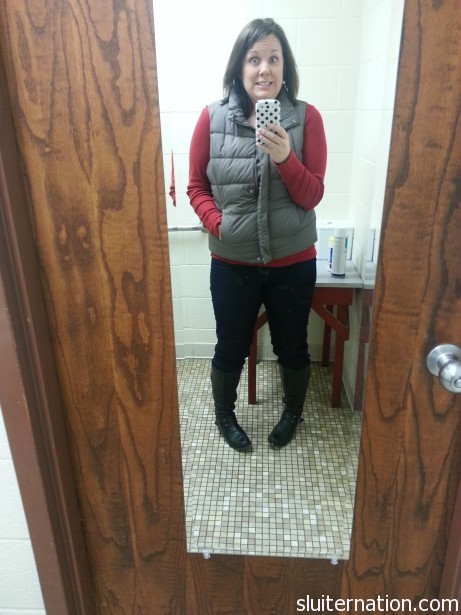 my first pair of skinny jeans!  They are from a Zulily Sale.  Vest and red shirt...yup...Gap.