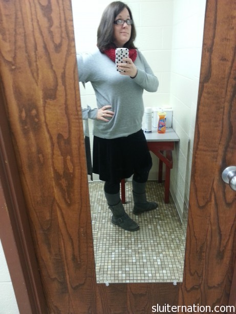 Again with the black skirt and leggings.  The sweater is from NY&amp;Co and the scarf was a handmade gift.