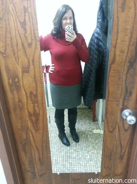 The red sweater again with a skirt from Anne Taylor Loft.