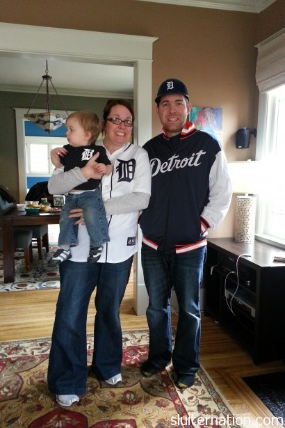 April 1: Tigers first game, so per tradition my family gets together in our gear and acts ridiculous (pictured me, Bird, and my brother Chris)
