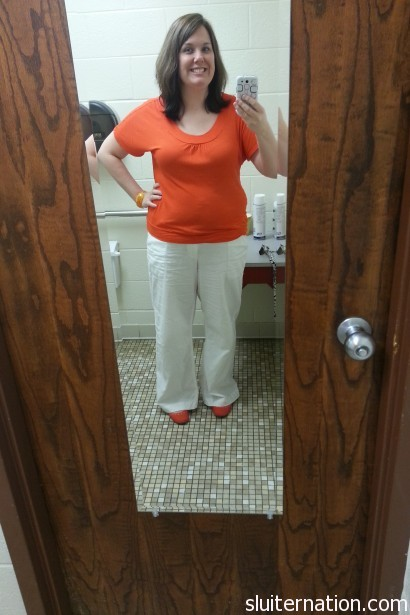 White linen pants (COME ON, SPRING!) from Gap. not sure where the orange shirt came from.  We'll just say Gap because, well, that is the trend here.