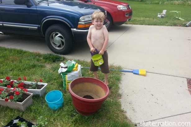 May 25: This guy helps out with all sorts of outdoor chores. He's my favorite helper!