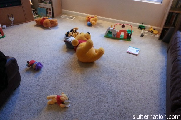 May 29: Well this is awkward. I  woke up to a Pooh explosion all over the living room.