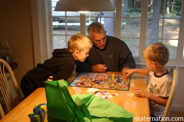 August 18: First day at the cottage and Eddie is already smoking his grandpa and cousin in a game of Candy Land.