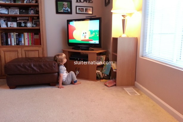 August 30: A rare moment where Charlie stops to watch TV. Not surprisingly it's when music was happening.