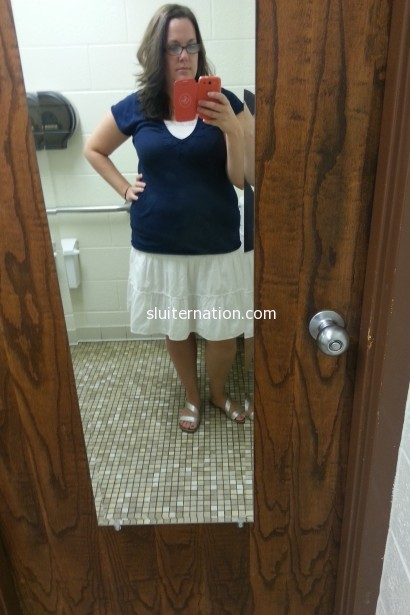 September 4: Back to the selfies in the staff bathroom to do #teacherstyle on instagram