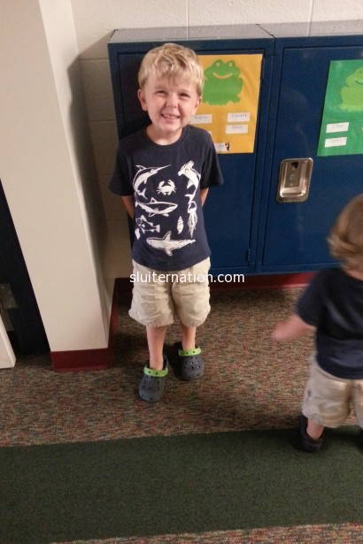 September 5: Meet the teacher night at Preschool. My heart may have stopped when he stood by his locker.