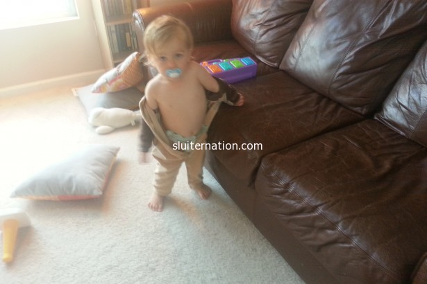 September 19: Apparently Charlie is too saavy for jammies with snaps. I turn around for a second and he's stripping!