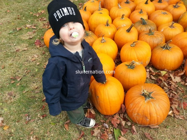 October 26: We went to pick pumpkins. Yes, that is a Primus hat. What? You *don't* put your 19-month old in a rock band stocking cap?