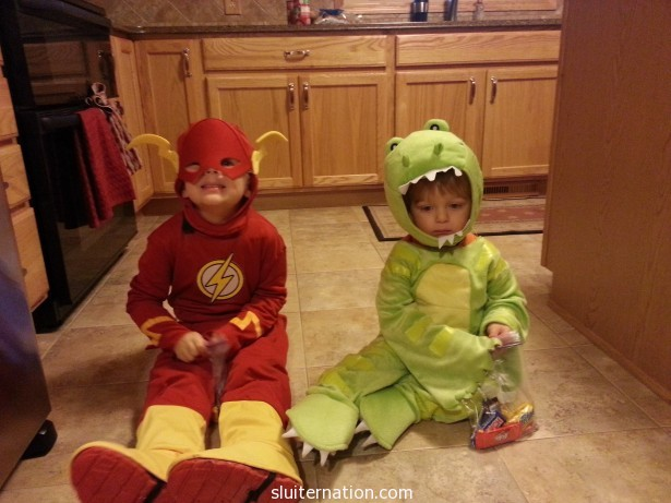 Eddie chose to be the Flash this year while Charlie was a dinosaur by default (it's what we had already)