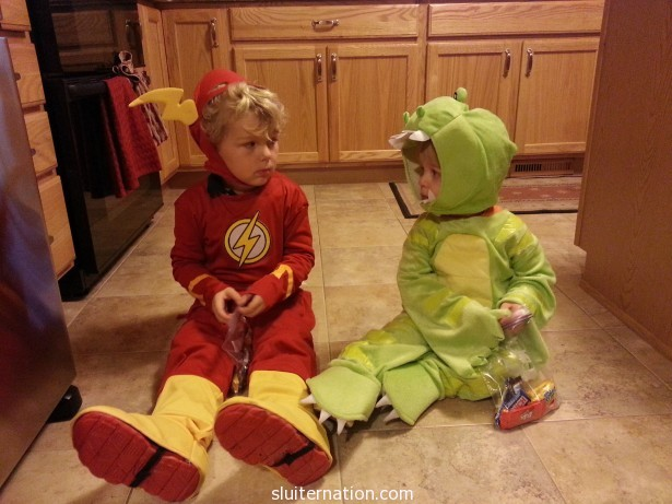 October 31: Neither trusts the other to not touch his candy. It's a legit mistrust.
