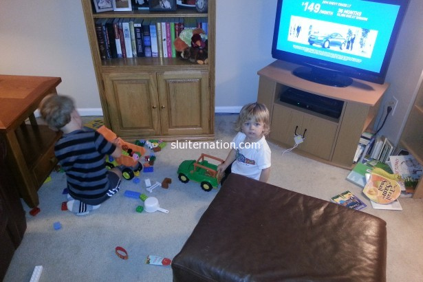 "November 16: Boys playing ""beep beeps""...or as we non-toddlers call them, Trucks."