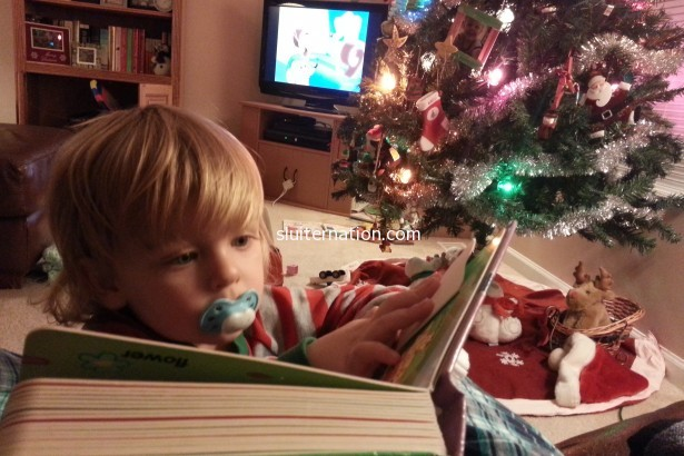 December 5: See what I mean? TV is dead to him if it means he can read Goodnight Moon.