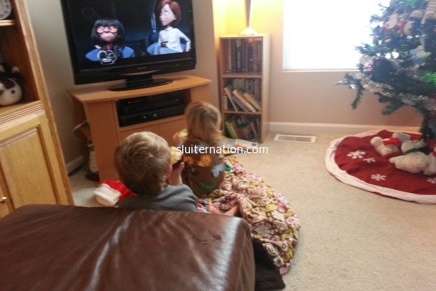 December 21: Lazy Saturday morning = The Incredibles and apple munching.