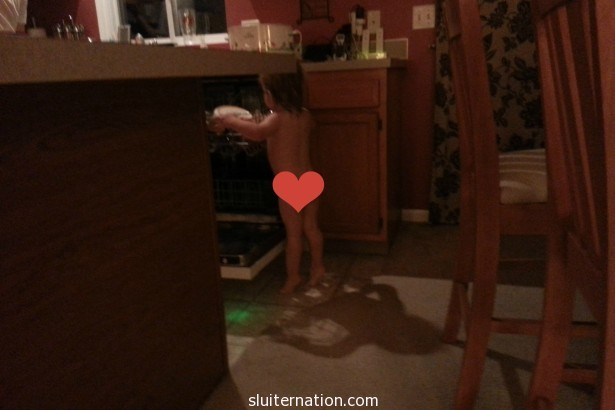 January 14: Fresh out of the bath...no time for clothes when there are clean dishes to help with!