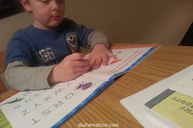 "January 15: ""Hey mom, I am just going to work on my letters for a bit."" I can't argue with that!"