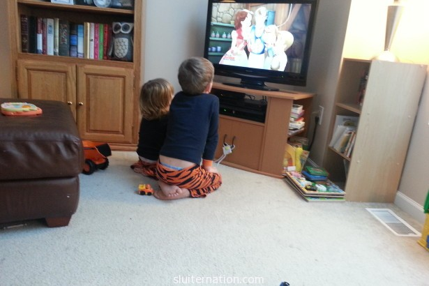 February 2: Two boys in matching jammies watching Sofia on a Sunday morning before church. I know. It's the best.