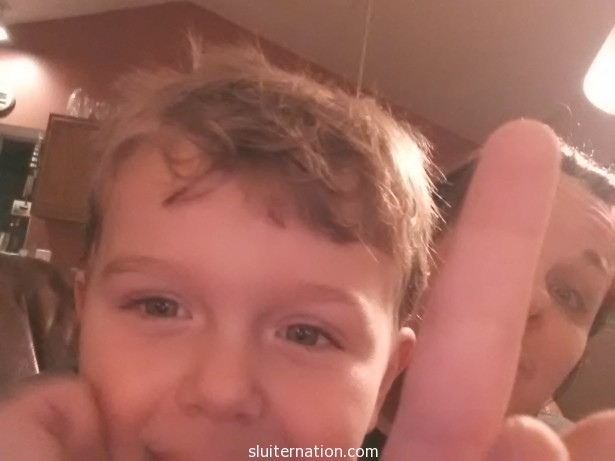 """February 4: """"Hey mom, take a picture of my lucky finger."""" I took the picture, but did not ask any further questions about """"lucky""""."""