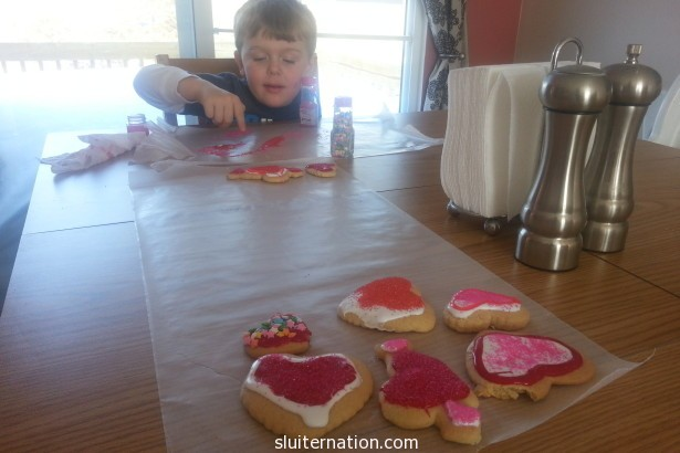 February 15: decorating cookies to take along to a fun night with some of our favorite friends!