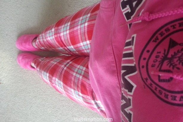 March 5: Another day of testing means I'm too exhausted to care that I am wearing head to toe pink.