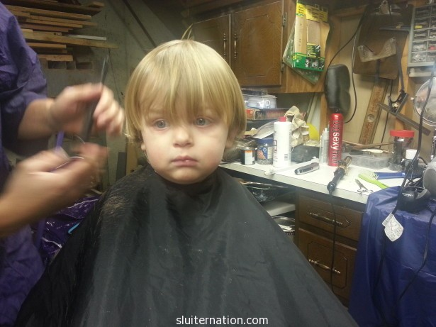 Haircuts = no smiles. It's serious  business.