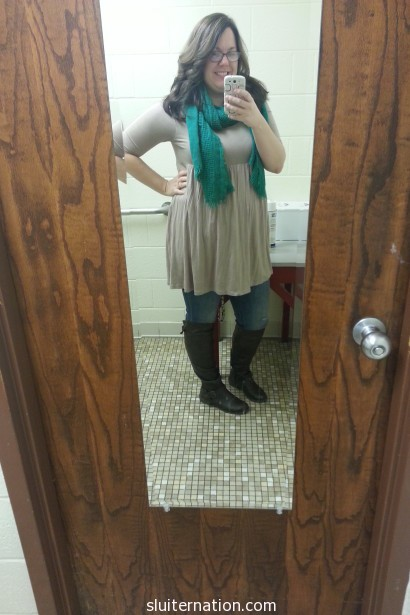 March 21: Because I haven't taken a #teacherstyle photo in a while. This is what wishing for spring looks like. Shortish sleeves with boots and a scarf.