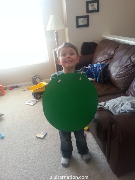 March 26: Eddie dressed up as the green dot from the Leo Leonni book for dress as a book character day at school. Cutest green dot ever.