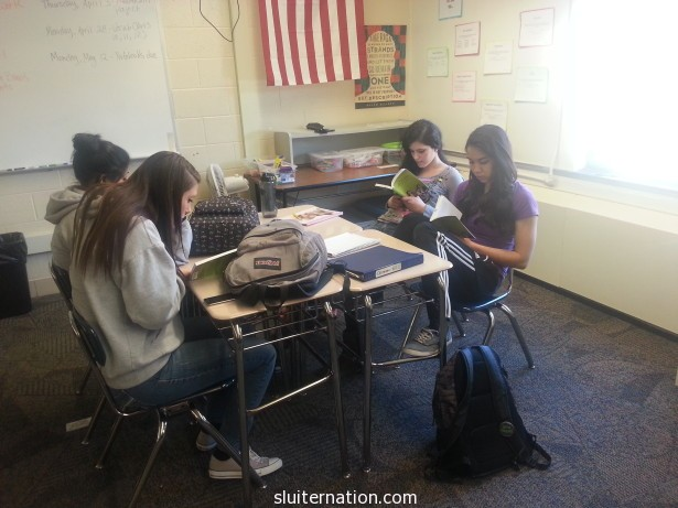 April 2: I hand out the books for Book Club and my students can't NOT read!  WOO HOO!