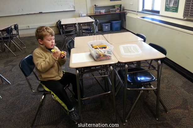 April 5: I need to get stuff from my classroom, so this guy helps me out. Then I got back to feeling awful.