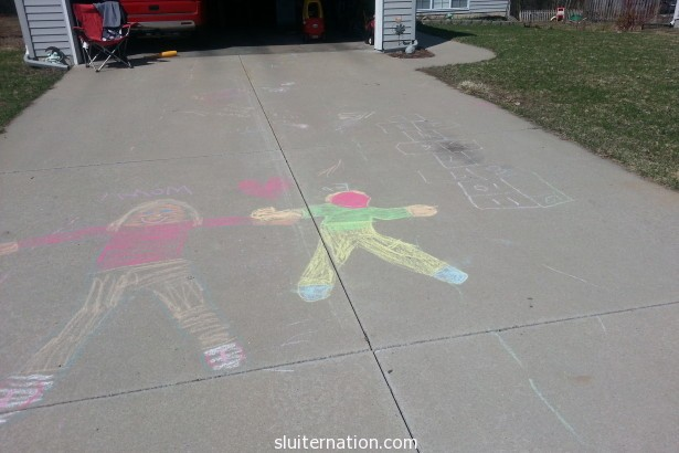April 9: Eddie and I spend an hour just chalking and talking during Charlie's nap.