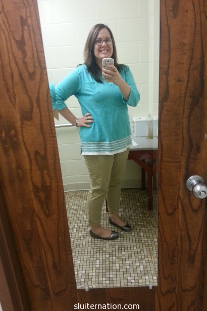 April 16: I'm trying to urge spring to stick around by wearing springy colors.