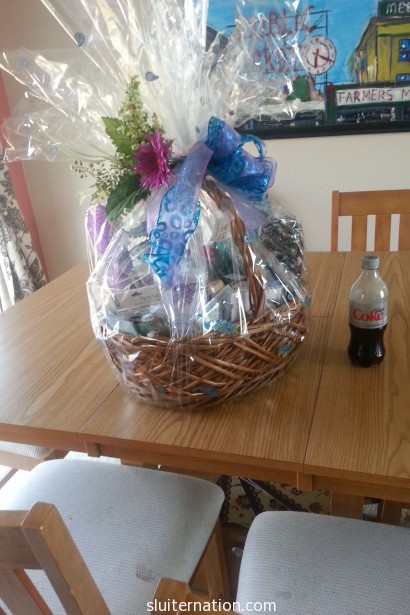 "May 10: Attempting to unpack this HUGE ""relaxation"" basket I won in our school's Relay for Life raffle fundraiser."