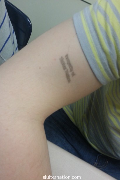 "May 14: I may have gotten out of control with my new ""Property of Sluiter Nation"" stamp at school"