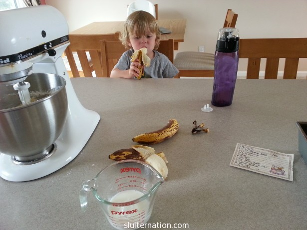 August 11: I went to make banana bread and found this one taste-testing the brown bananas. Spoiler: he did not love it.