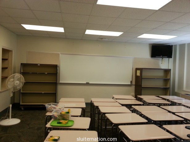 See those shelves? That is where my classroom library will live!