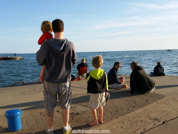 "August 14: This day. Sigh. So hard. Took the boys to the pier to ""see"" Papa Steve."