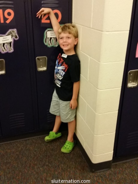 August 25: Kindergarten orientation! Eddie is pretty excited about meeting Mr. F and seeing his classroom!