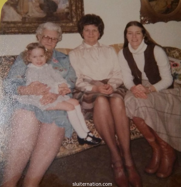 That's me on my great grandma Katherine's lap. in the middle is my grandma Jo. On the right is my beautiful mother.