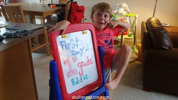 September: Back to school for both me and Eddie. This picture is quite prophetic of his 1st grade experience.