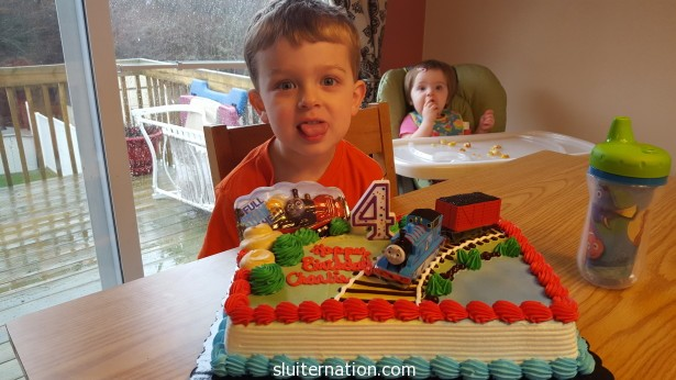 "the requested ""train cake"" for the birthday boy"